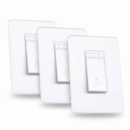 历史新低!TP-Link Kasa HS220P3 WiFi无线 智能调光开关3件套4.7折 59.99加元包邮!