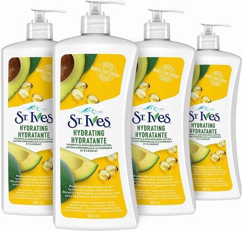St. Ives 含维生素E鳄梨保湿身体乳液 4×600毫升 11.96加元,原价 16.45加元