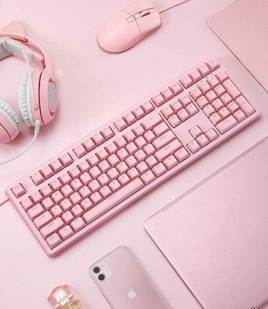 AUKEY 粉色RGB背光机械游戏键盘 59.99加元,原价 69.99加元,包邮
