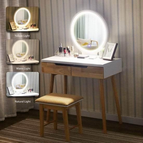 YOURLITEAMZ 时尚梳妆台+带可调光圆镜+凳子套装 249.99加元