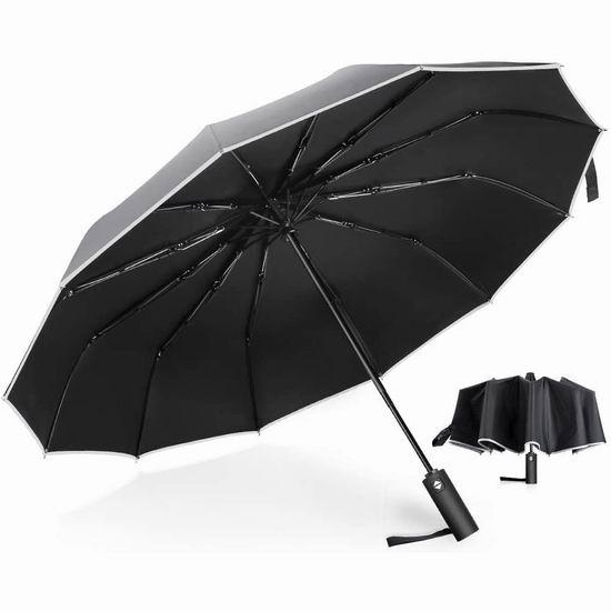 历史新低!MOSFiATA 12伞骨 速干面料 防风折叠雨伞6折 17.99加元!