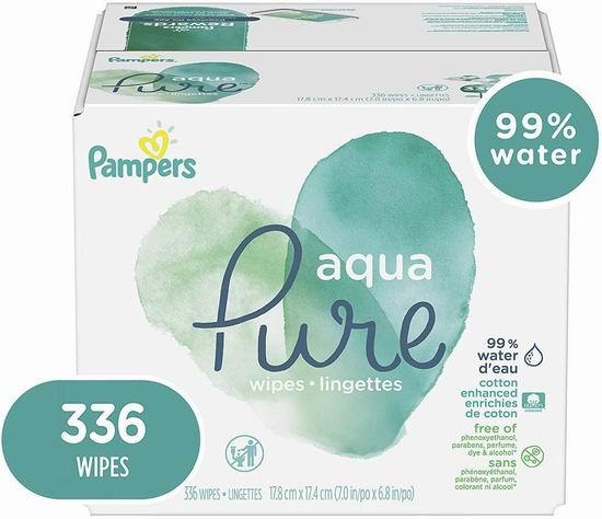 Pampers Aqua Pure 6X Pop-Top 低过敏性 婴儿湿纸巾 336张 16.13加元,原价 19.97加元