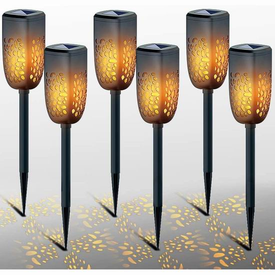 历史新低!LiyuanQ 升级版 太阳能 庭院氛围 LED火炬照明灯6件套4折 19.99加元包邮!2色可选!