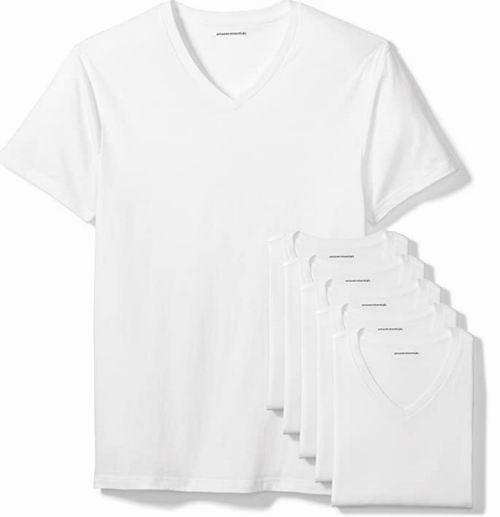 Amazon Essentials男士纯棉V领T恤 6件套 26加元,每件4.33加元