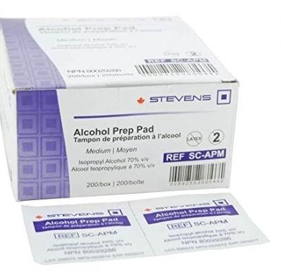 Stevens 70%酒精消毒棉片 200片 8.9加元