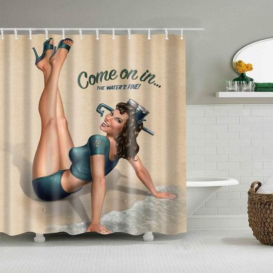 Mantto 沙滩女孩 可机洗 环保防水涤纶浴帘 10.99加元!