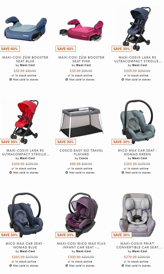 全场MAXI COSI 婴儿推车、安全提篮、汽车安全座椅 6折 59.99加元起优惠!