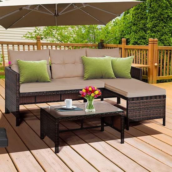 DORTALA 庭院软垫藤条沙发+茶几3件套 469.99加元包邮!