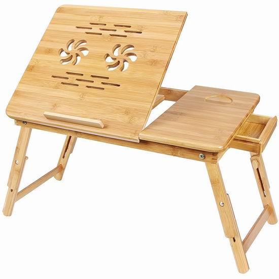 SONGMICS 便携式竹制笔记本电脑桌/床上托架/早餐桌 43.99加元包邮!