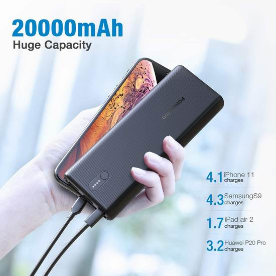 历史新低!Poweradd 20000mAh PD 18W USB C 便携式移动电源/充电宝 16.49加元!