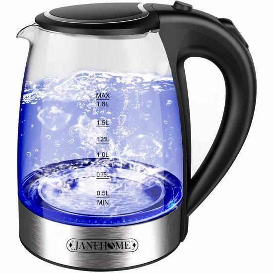 历史新低!JANEHOME 1.8升蓝光玻璃电热水壶 37.99加元包邮!