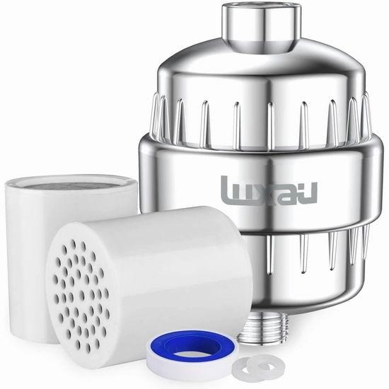 历史最低价!Luxau 15级过滤 软化水质淋浴头过滤器 20.99加元!
