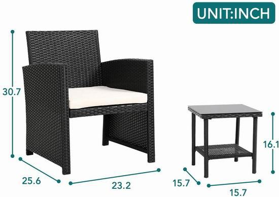 FDW 庭院软垫藤条沙发+茶几3件套 179.99加元包邮!