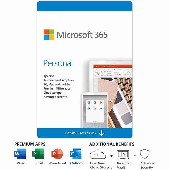 Microsoft Office 365 Personal 数字下载个人版1年订阅6.1折 48.99加元!送1TB OneDrive云储存空间!