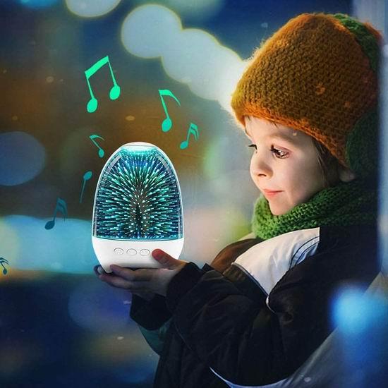 历史新低!SWUKO LED炫彩 水晶玻璃 多功能 蓝牙音箱/收音机/Mp3播放器/床头灯5折 19.99加元包邮!免税!