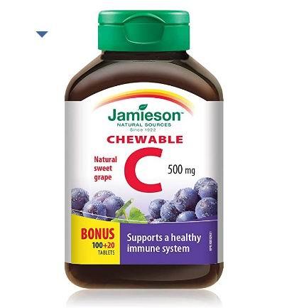 Jamieson 维生素C咀嚼片 120粒 3.99加元,shoppers同款价 11.49加元