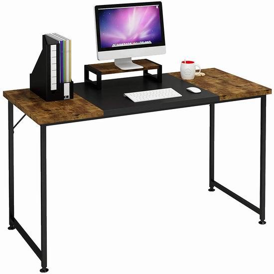 手慢无!历史新低!Magic Life 47英寸时尚木纹电脑桌/书桌 39.99加元限量特卖并包邮!带显示器台架!