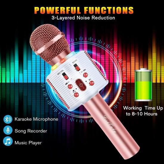 FISHOAKY 炫酷彩灯 一体式无线掌上KTV/变声话筒/蓝牙音箱/麦克风 19.54-20.39加元!免税!2色可选!