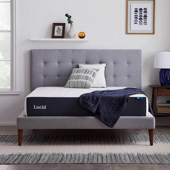 历史新低!Lucid 10英寸 竹炭纤维 凝胶记忆海绵 Queen床垫 313.1加元包邮!