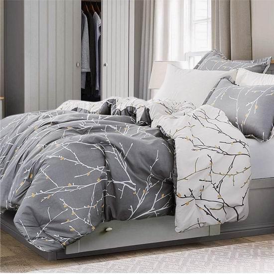 Bedsure 双面两风格 时尚树枝印花 Queen 仿羽绒被+枕套套装 37.79加元包邮!免税!