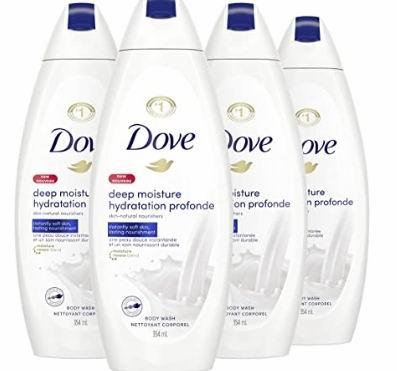 Dove 深层滋润沐浴露 354毫升×4瓶 13.26加元,原价 21.08加元