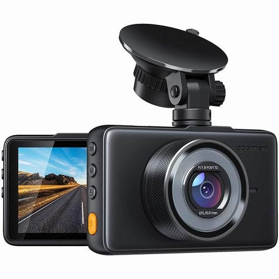 APEMAN 1080P 全高清超大广角行车记录仪6.1折 42.49加元限量特卖并包邮!