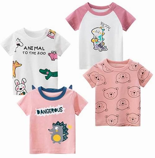 Kivors 女童卡通、水果图案纯棉T恤 4件套 25.99加元,每件 6.5加元,多款可选