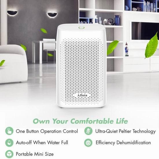 Afloia 700ml 便携式超静音除湿机 44.99加元限量特卖并包邮!