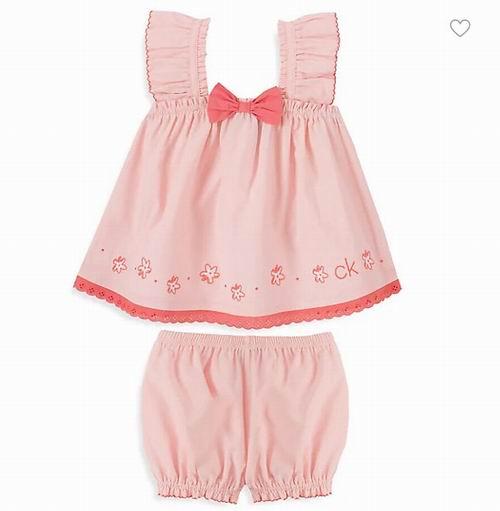 Calvin Klein 儿童春夏服饰 5折起+满立减10加元,上衣+短裤套装28加元