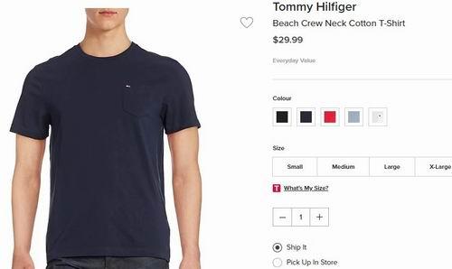 Tommy Hilfiger男士T恤 16.8加元起,多色可选!The Bay同款价 29.99加元