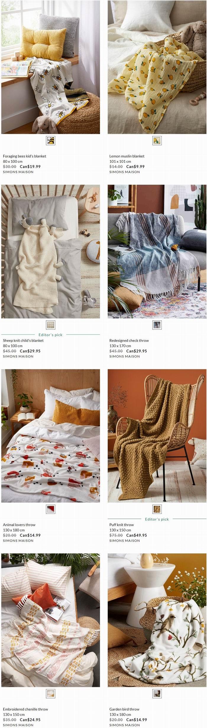 Simons精选床上用品、枕头、抱枕、毛毯 6.7折 9.99加元起