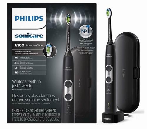 历史最低价!Philips 飞利浦 Sonicare 6100系列 声波震动 美白电动牙刷6.6折 99.99加元包邮!