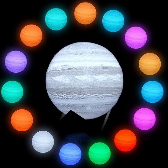 历史新低!ShaArkMango 6英寸 可调光 16色LED 3D打印 创意木星灯/夜灯 15.59加元!免税!