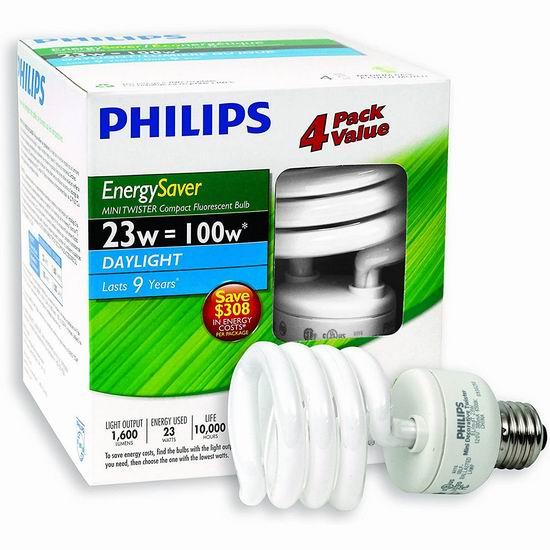 超级白菜!Philips 飞利浦 416016 CFL 100瓦等效 Mini T2 LED节能灯4件套1.8折 4.75加元清仓!