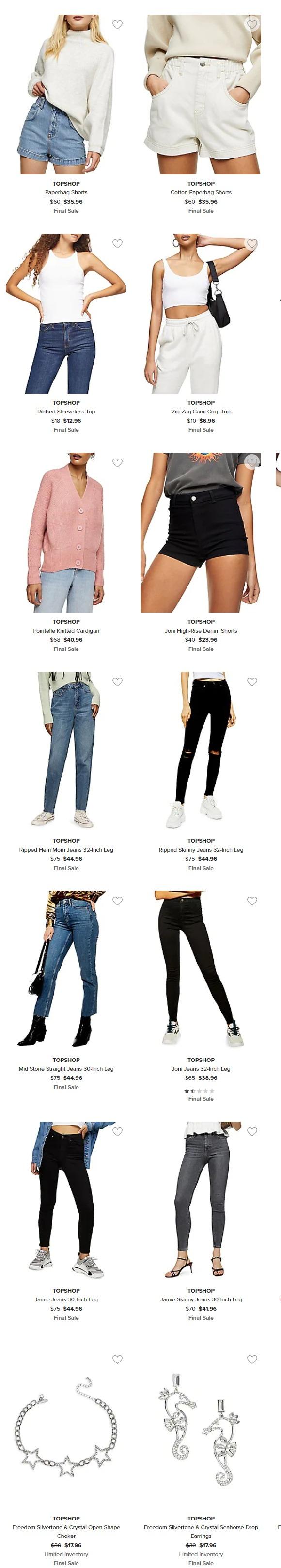 TOPSHOP 潮款服饰 4折起:百搭款牛仔裤38.96加元、牛仔短裤23.96加元、背心 6.96加元