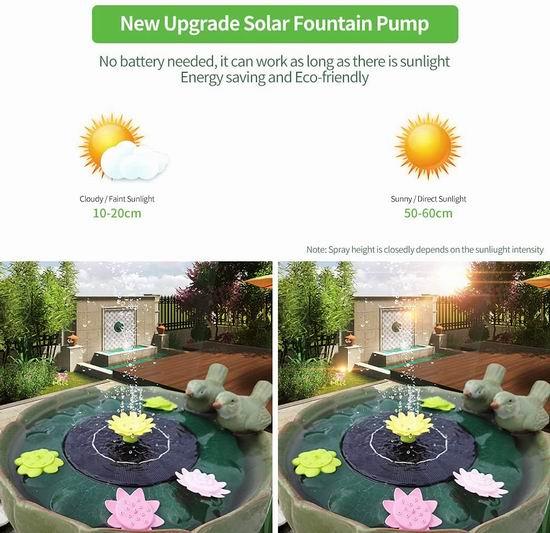 历史新低!LionRoar 太阳能荷叶喷泉5折 19.99元包邮!