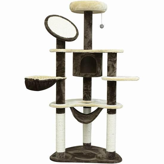 PawHut 60英寸多层猫树公寓/猫爬架 79.99加元包邮!