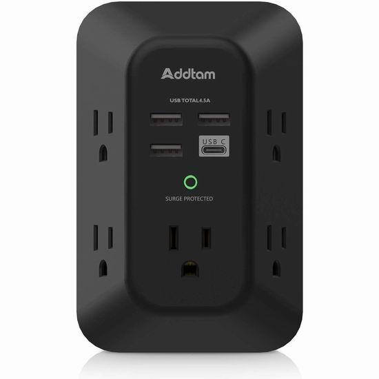 Addtam 电涌保护 壁插式5口插座 + 4 USB充电口插座6.5折 25.34加元包邮!双口墙插秒变9口!