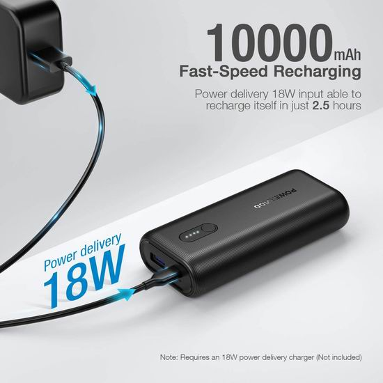 历史新低!Poweradd 10000mAh PD 18W USB C 超便携 超快充 移动电源/充电宝 13.49加元清仓!选用特斯拉Model 3同级电池组!