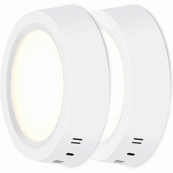 历史新低!HOOBAY 12瓦  LED节能 圆形吸顶灯2件套超值装 20.99加元!另有18瓦/30瓦高亮 吸顶灯单个装18.59-23.99加元!2色可选!