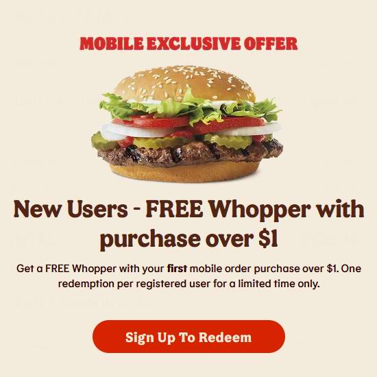 Burger King 汉堡王 新用户首单 送Whopper汉堡!