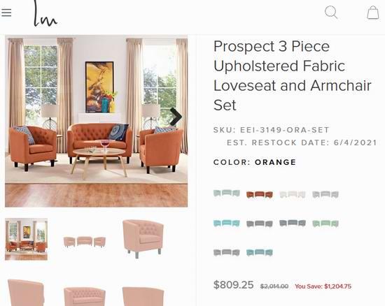 白菜价!LexMod Prospect EEI-3149 英伦风 布艺沙发3件套3.2折 778加元起包邮!7色可选!