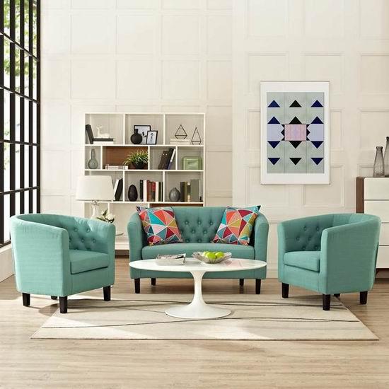 白菜价!历史新低!LexMod Prospect EEI-3149 英伦风 布艺沙发3件套2.8折 697.88加元包邮!10色可选!