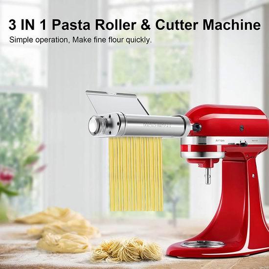 WANJIALE KitchenAid 厨师机专用 三合一 不锈钢面条/压面切面器配件 129加元包邮!