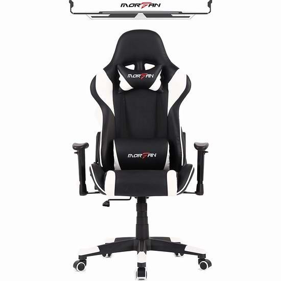 Morfan 人体工学 高靠背赛车办公椅/游戏椅 161.49加元限量特卖并包邮!配备按摩腰枕!8色可选!