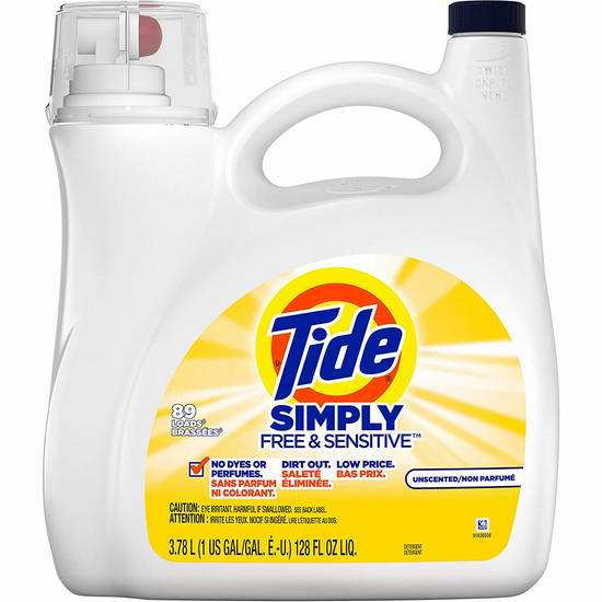 Tide 汰渍 Simply 无香抗过敏洗衣液(3.78升 89缸) 8.97加元!
