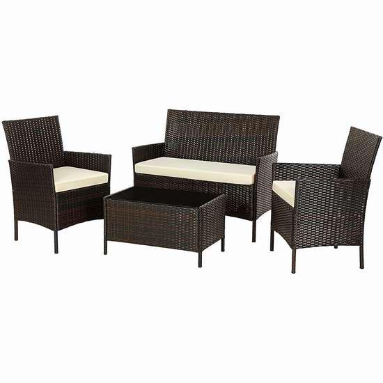 SONGMICS 庭院软垫藤条沙发+茶几4件套 334.04加元包邮!2色可选!
