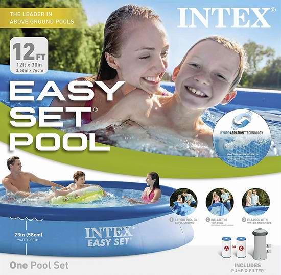近史低价!Intex 12ft X 30in 3.65米 带过滤泵 便携式游泳池 124.99加元包邮!
