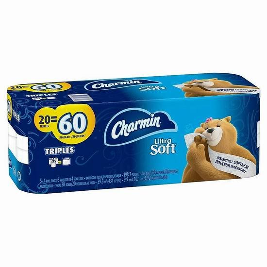 Charmin Ultra Soft 超软双层卫生纸12-20卷装4.6折 5.99加元起+无门槛包邮!