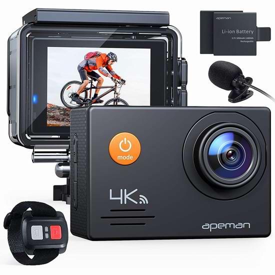 历史最低价!APEMAN A79 4K 超高清超大广角无线WiFi运动摄像机+双锂电池+21附件套装6.6折 59.49加元包邮!